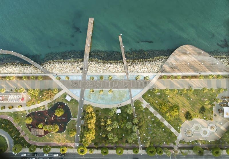 Vogelperspektive von Molos, Limassol, Zypern stockbilder