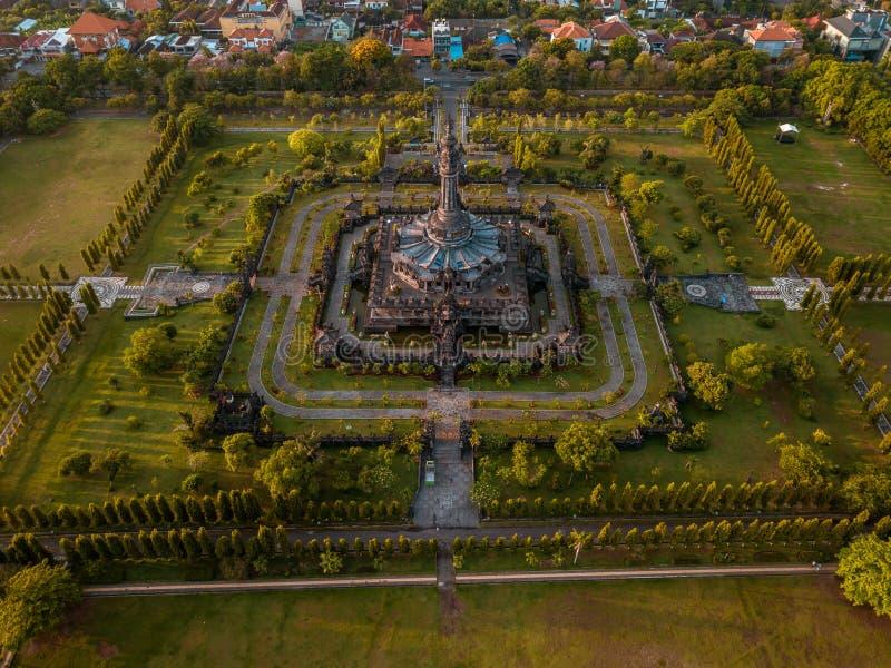 Vogelperspektive von Monument Denpasar Bali Indonesien Bajra Sandhi lizenzfreie stockfotografie
