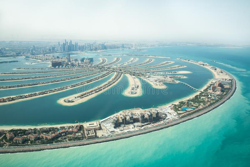 Vogelperspektive von Palme Jumeirah-Mann machte Insel lizenzfreie stockfotos