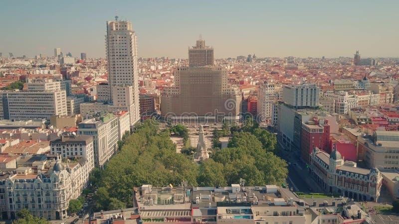 Vogelperspektive von Plaza de Espana, berühmtes Quadrat in Madrid, Spanien stockfotos