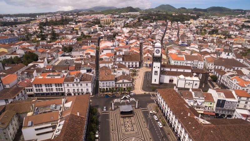 Vogelperspektive von Praca DA Republica in Ponta Delgada, Azoren, Portugal lizenzfreie stockfotos