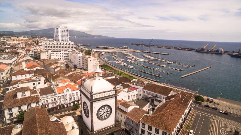 Vogelperspektive von Praca DA Republica in Ponta Delgada, Azoren, Portugal lizenzfreie stockbilder
