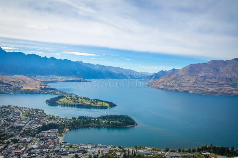 Vogelperspektive von Queenstown Neuseeland stockbild