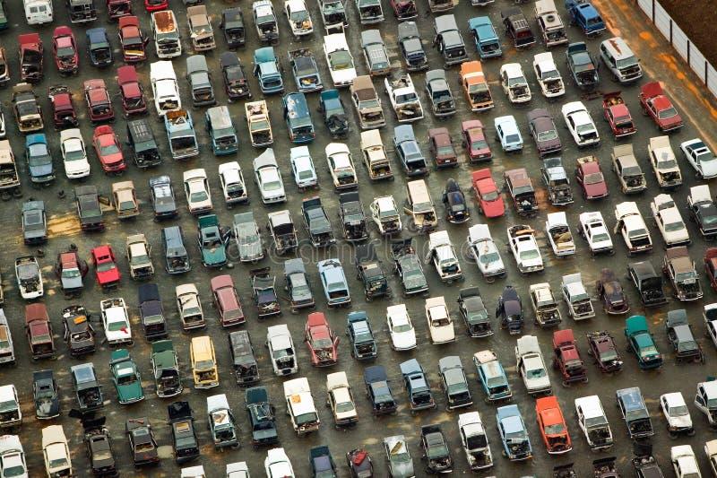 Vogelperspektive von ruinierten Autos in Charlotte, North Carolina lizenzfreie stockfotografie