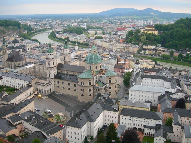 Vogelperspektive von Salzburg, Österreich lizenzfreie stockfotografie