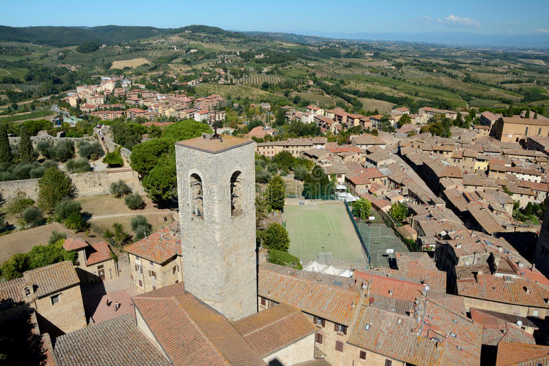 Vogelperspektive von San Gimignano-Stadt in Toskana, Italien lizenzfreies stockbild