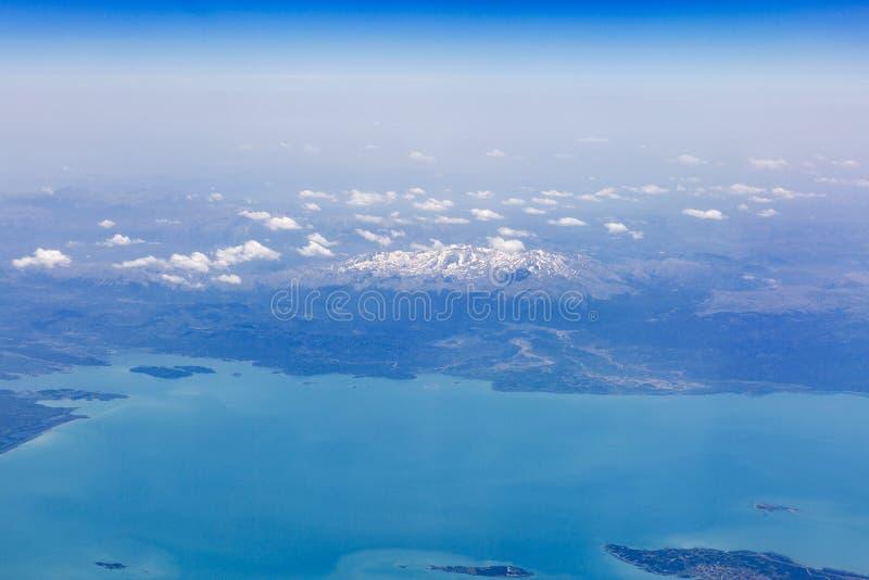 Vogelperspektive von See Beysehir in der Türkei stockbild