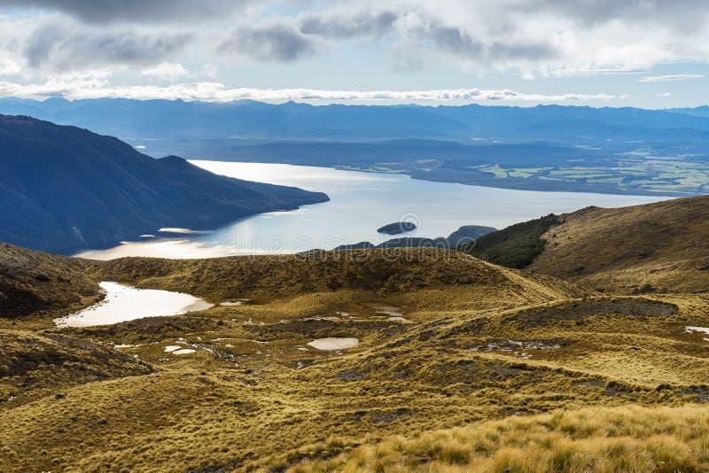 Vogelperspektive von See Te Anau stockfoto