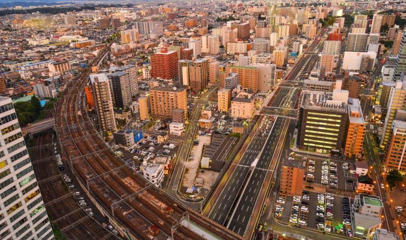 Vogelperspektive von Sendai, Japan lizenzfreie stockfotos