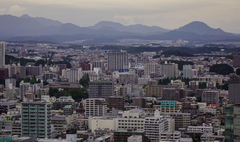 Vogelperspektive von Sendai, Japan stockfotos