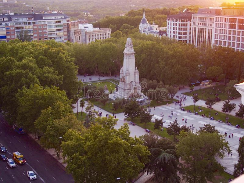 Vogelperspektive von Spanien-Quadrat in Madrid stockbild