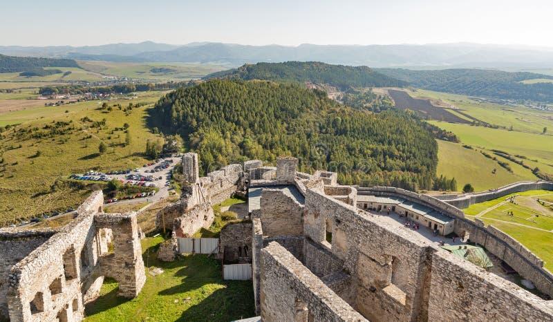 Vogelperspektive von Spis-Schloss, Slowakei lizenzfreies stockbild