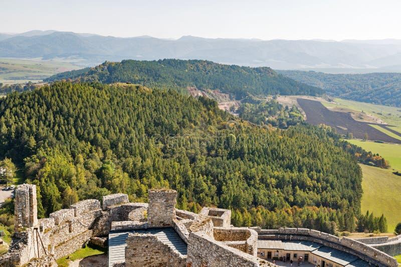 Vogelperspektive von Spis-Schloss, Slowakei lizenzfreie stockbilder