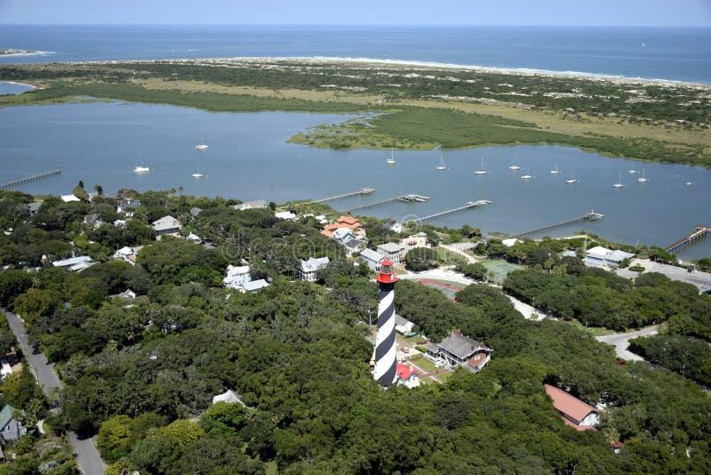 Vogelperspektive von St. Augustine Lighthouse stockbild
