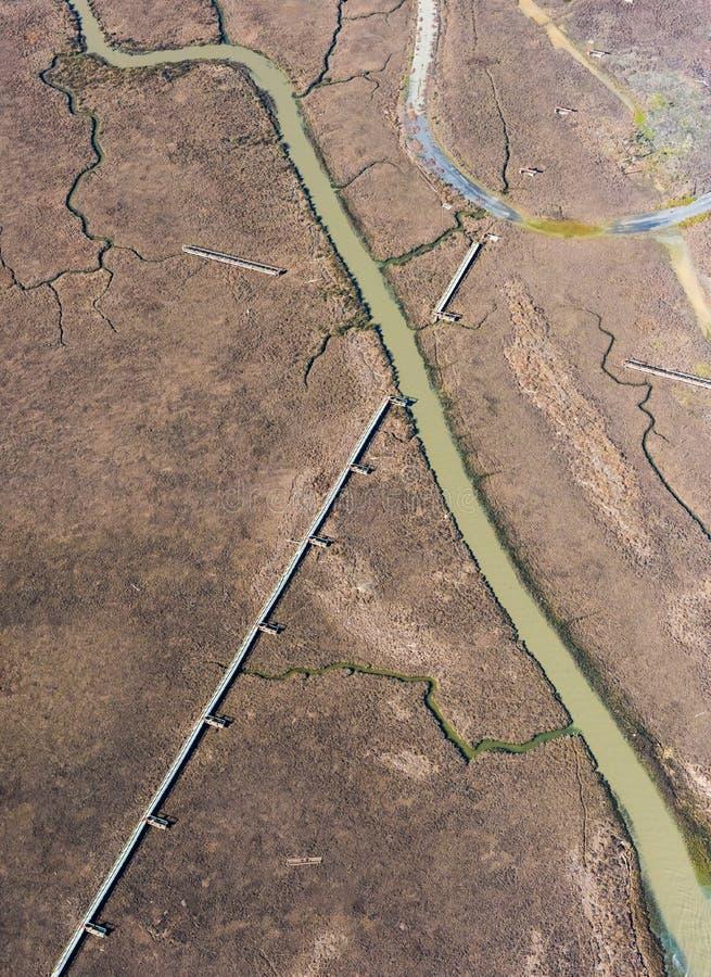 Vogelperspektive von Sumpfgebieten um San Francisco lizenzfreies stockbild
