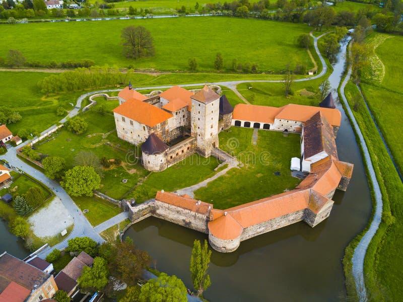 Vogelperspektive von Svihov-Schloss lizenzfreie stockfotografie