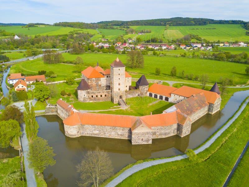 Vogelperspektive von Svihov-Schloss lizenzfreie stockfotos