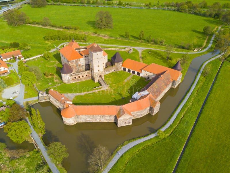 Vogelperspektive von Svihov-Schloss stockfotos