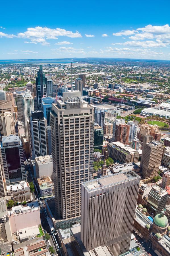 Vogelperspektive von Sydney CBD mit den Ultimo und Haymarket-Vororten stockfotografie
