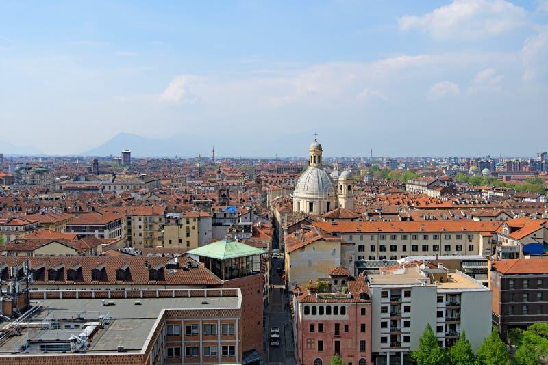 Vogelperspektive von Turin-Dachspitzen 4, Turin, Ligurien, Italien lizenzfreies stockbild