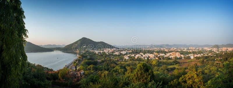 Vogelperspektive von Udaipur-Stadt, Rajasthan, Indien stockfoto