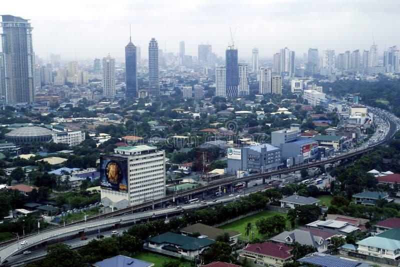 Vogelperspektive von Wohn- und Gewerbegebiete und Einrichtungen in der Metro Manila lizenzfreies stockfoto