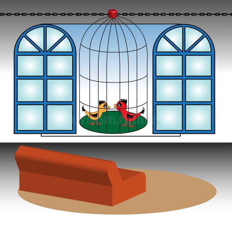 Vogelrahmen vor einem Fenster lizenzfreie abbildung