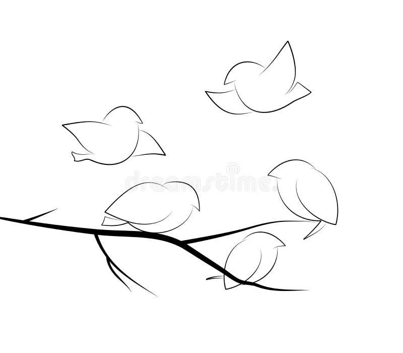 Vogels in aard vector illustratie