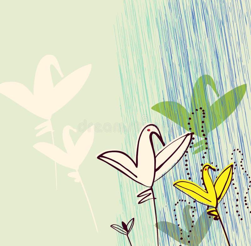 Vogels als bloemen. Uitnodiging, groet, het malplaatje van het prentbriefkaarontwerp royalty-vrije illustratie