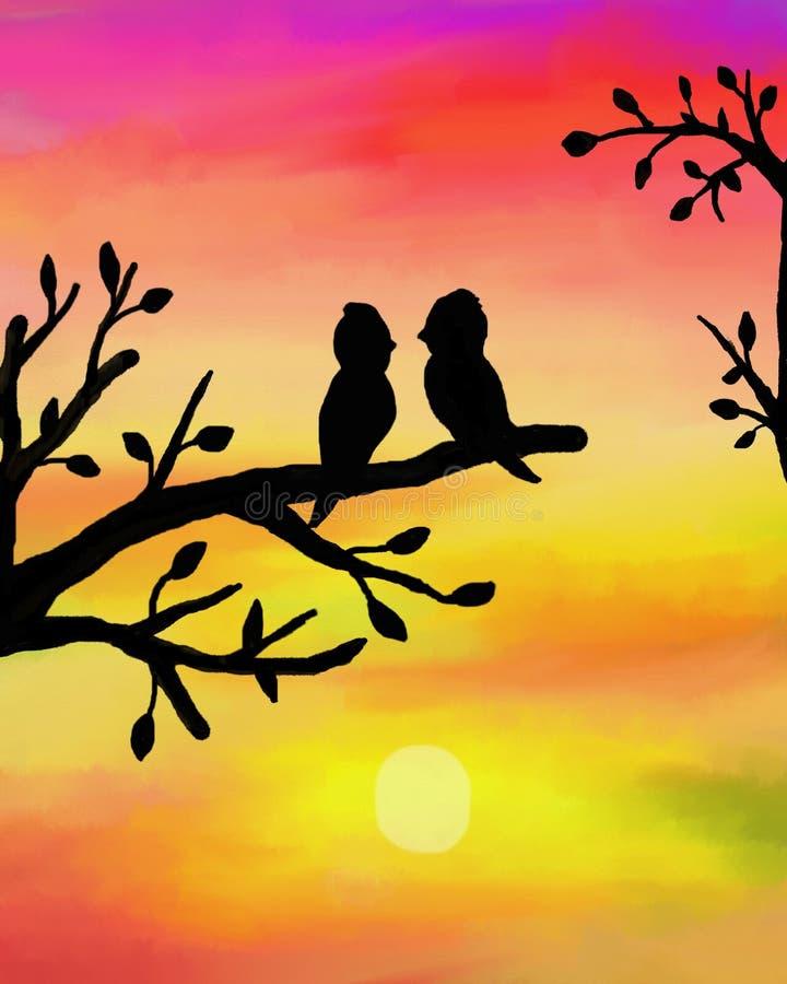 Vogels bij zonsondergang royalty-vrije illustratie