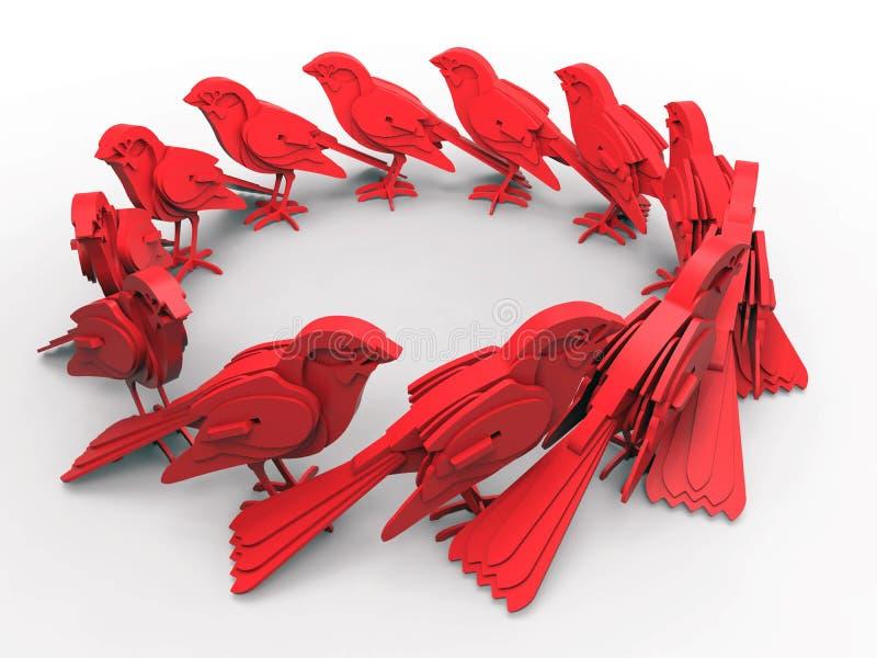 Vogels cirkelpatroon stock illustratie