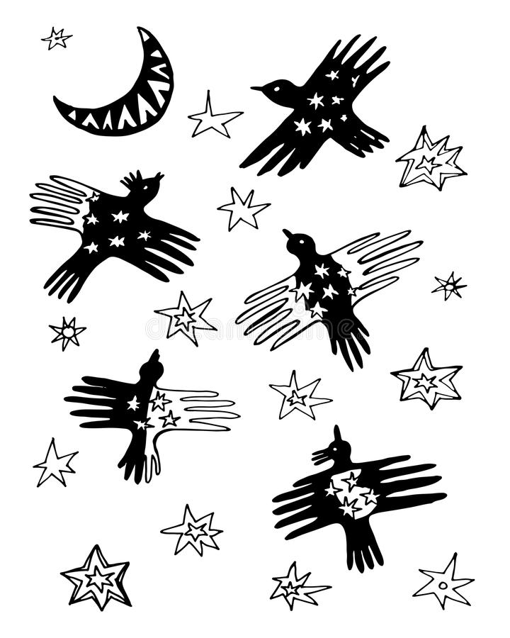 Vogels in de het patroonillustratie van de hemelkrabbel royalty-vrije illustratie