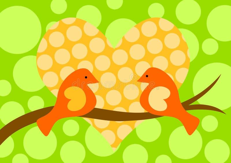 Vogels in de Kaart van de Dag van de Valentijnskaarten van de Liefde stock illustratie