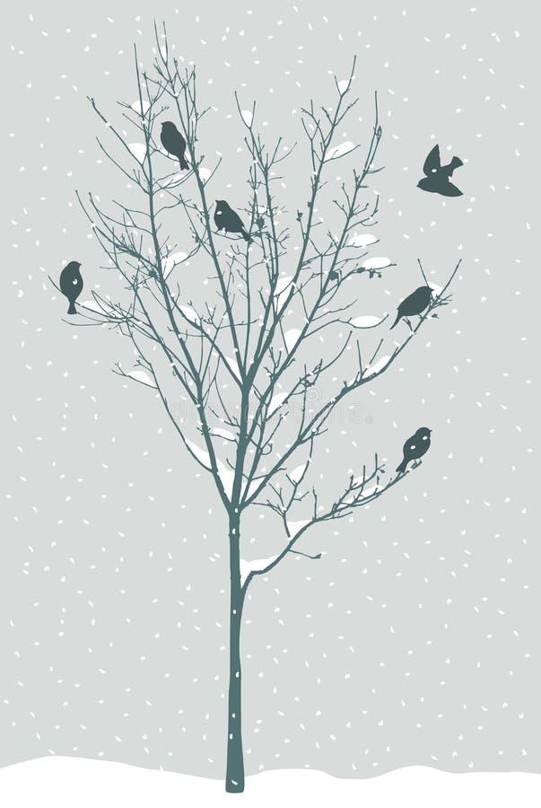 Vogels in de winter vector illustratie