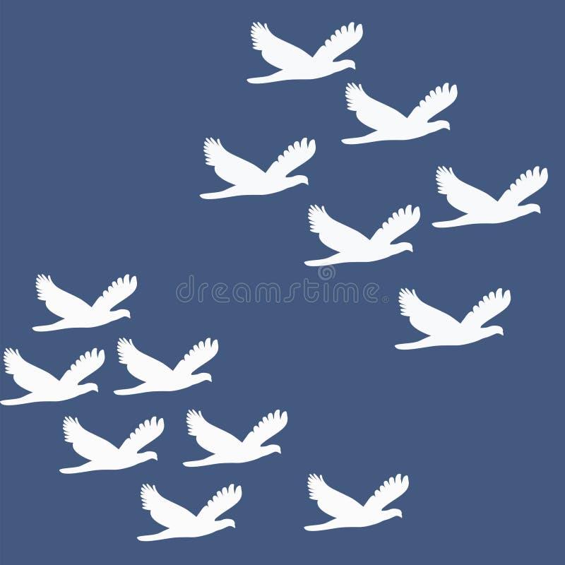 Vogels die in Groepen vliegen royalty-vrije stock afbeelding
