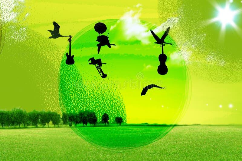Vogels, die in hemel vliegen royalty-vrije illustratie