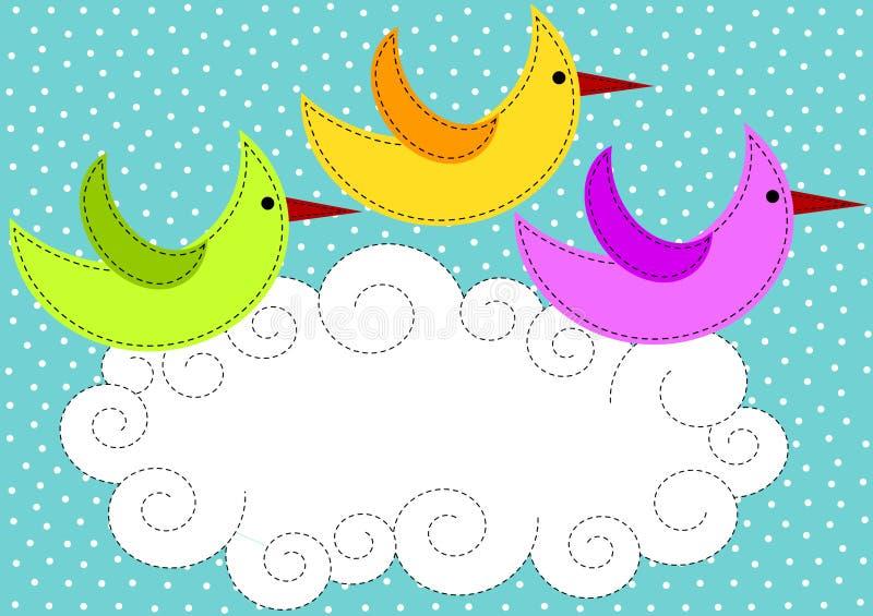 Vogels die over de kaart van de wolkenuitnodiging vliegen royalty-vrije illustratie