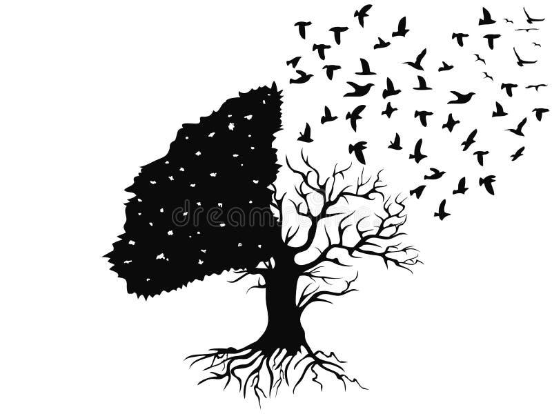 Vogels die van de boom vliegen
