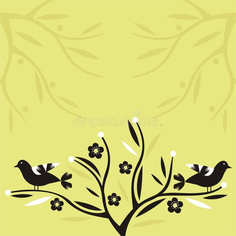Vogels en bloemen stock illustratie