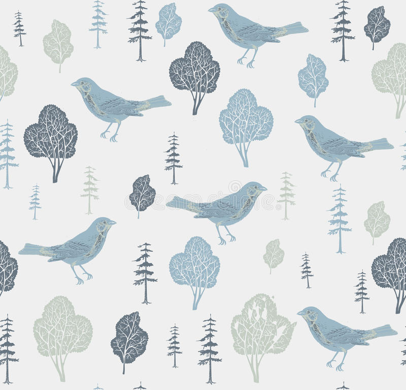 Vogels en bomen. stock illustratie