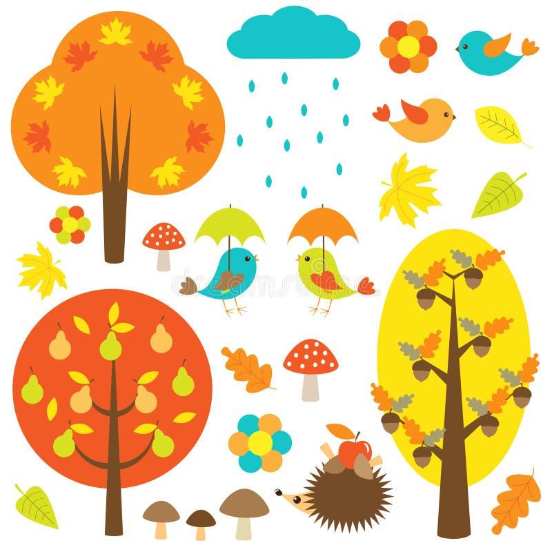 Vogels en bomen in de herfst vector illustratie