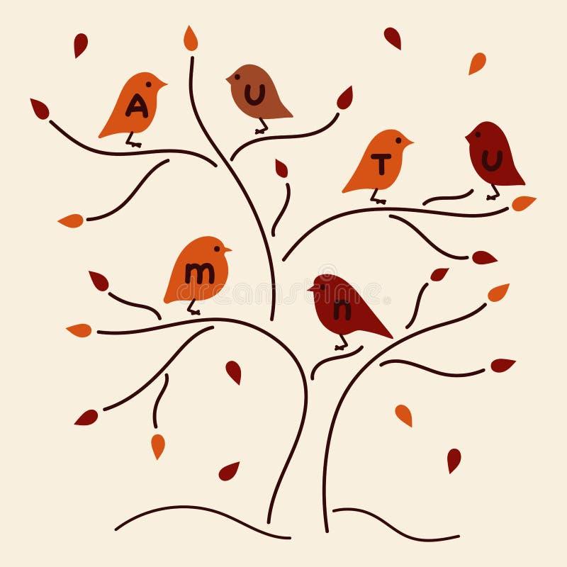 Vogels en de herfstboom Hand getrokken inschrijving vector illustratie