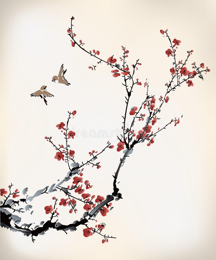 Vogels en de wintersnoepje stock illustratie