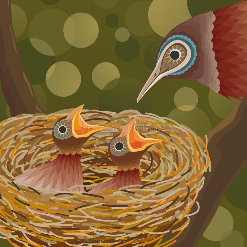 Vogels en Nest stock illustratie