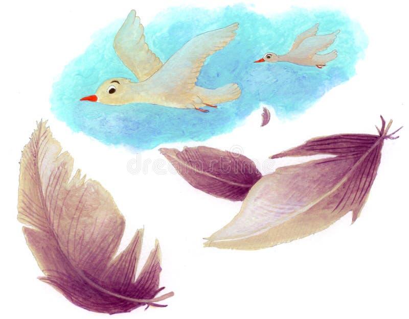 Vogels en veren vector illustratie