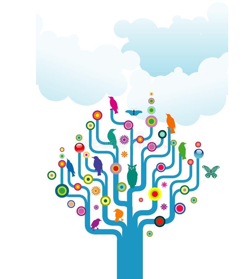 Vogels en vlinders op boom vector illustratie