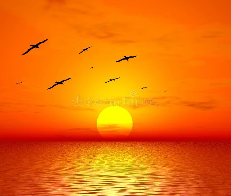 Vogels en zon royalty-vrije illustratie