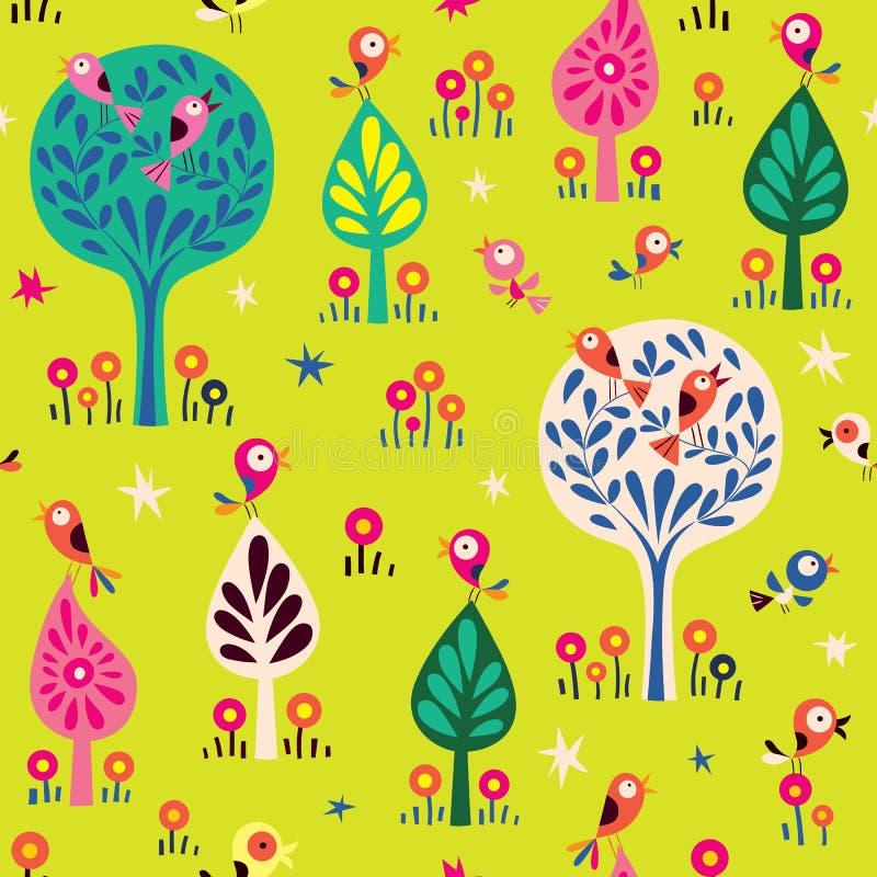 Vogels in het bospatroon van de bomenaard stock illustratie