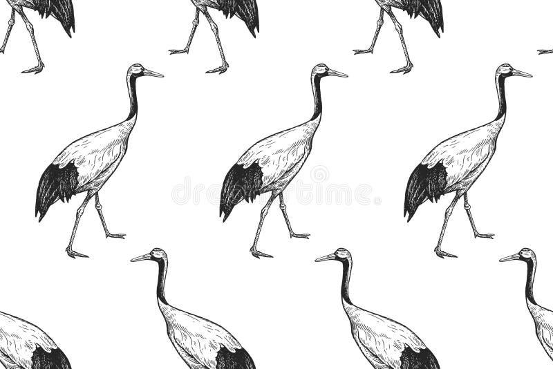 Vogels Japanse kranen Naadloos patroon Rebecca 36 royalty-vrije illustratie