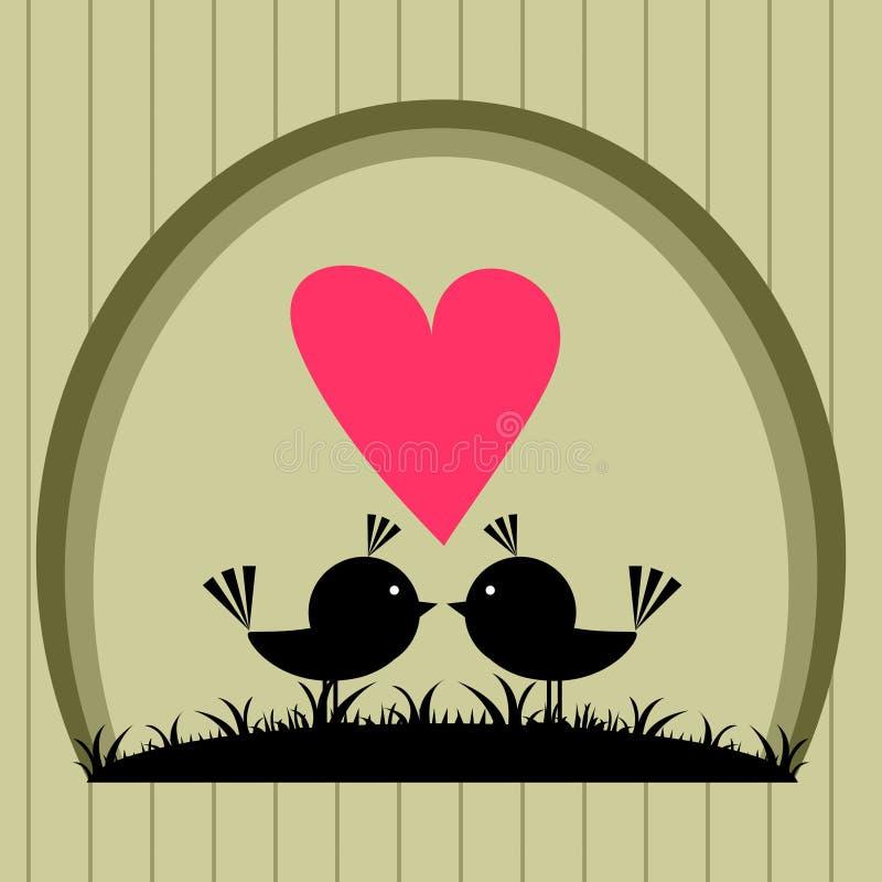 Vogels in liefdeprentbriefkaar stock illustratie